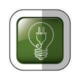 Middle shadow sticker of square green with light bulb with filament power cord Royalty Free Stock Image
