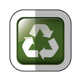 Middle shadow sticker of square green with recycling symbol withe Royalty Free Stock Image