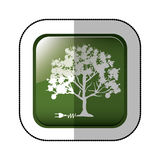 Middle shadow sticker of square green with tree with power cord Stock Images