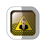 Middle shadow sticker in yellow square with call center operator. Vector illustration Royalty Free Stock Photography
