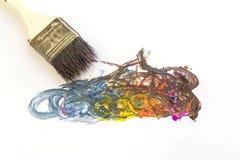 Middle size paintbrushes stock photos