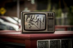 TV. In the middle of the street, in Buenos Aires, an abadoned television Royalty Free Stock Photography