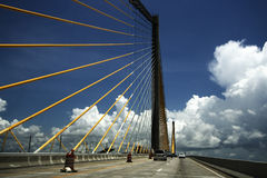 In the Middle of Sunshine Skyway Bridge. Panoramic shot of Sunshine Skyway Bridge on US 275 near St. Petersburg, Florida stock photo