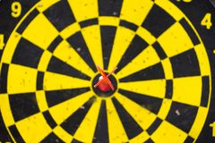 Dart board game winning middle Stock Image