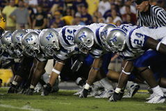 Middle Tennessee. Middle Tennesse Linemen line up aganist LSU in Baton Rouge in 2007 Stock Image