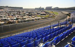 Middle of Turn #4. A view of the infield and front stretch from the middle of turn #4 at Lowes Motor Speedway in Concord, NC stock image