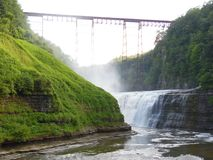 Letchworth State Park Waterfall. The Large Falls at the Letchworth State Park in New York Stock Image