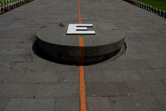 Middle of the world. The equator monument in quito, ecuador royalty free stock photos