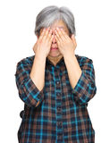 Middleage asian woman cover eyes stock photography