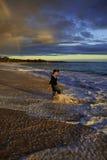 Middleage woman at makena beach Stock Photos