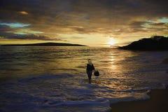 Middleage woman at makena beach Royalty Free Stock Photos