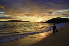Middleage woman at makena beach Royalty Free Stock Photo