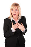 Middleaged business woman surprised royalty free stock images