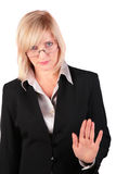 Middleaged businesswoman gives gesture Royalty Free Stock Photos