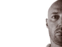 Middleaged man stubble bald Royalty Free Stock Image