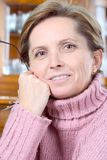 Middleaged woman. Portrait of a middleaged woman royalty free stock photos