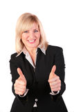 Middleaged woman gives gesture 3 Stock Image