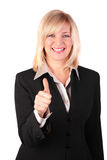 Middleaged woman gives gesture OK Royalty Free Stock Photos