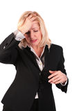 Middleaged woman headache Royalty Free Stock Photos