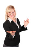 Middleaged woman  makes  inviting gesture. On white Stock Photos