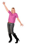 Middleaged woman stands dancing 3 Stock Image