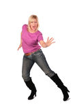 Middleaged woman stands dancing 4 Stock Photos
