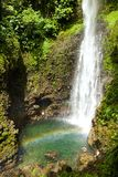 Middleham Waterfall, Dominica. Middleham waterfall and the rainbow, Dominica, Caribbean Stock Images