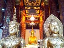 In the middlemen. Three old buddha in Ayuttaya Thailand Royalty Free Stock Photos