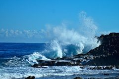 Middles Puerto Rico Rock and Waves Stock Images