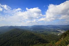 Middlesboro View from Pinnacle Overlook in Kentucky. View from Pinnacle Overlook and the Kentucky Mountains, Viewing the town of Middlesboro, KY royalty free stock image