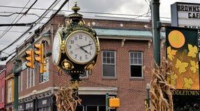 Middletown镇时钟在Middletown,宾夕法尼亚 图库摄影