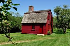 Middletown, RI:  c. 1700 Guard House at Prescott Farm Stock Photography