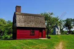 Middletown, RI: c. 1700 Guard House at Prescott Farm. Middletown, Rhode Island: C. 1700 Guard House, General Prescott's Revolutionary War Headquarters, and 1812 stock photo
