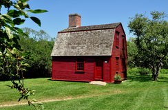 Middletown, RI: c 1700 Schutz House bei Prescott Farm Stockfotografie