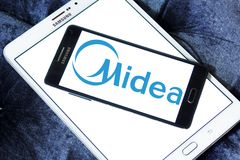 Midea Group logo. Logo of Midea Group on samsung mobile. Midea Group is a Chinese electrical appliance manufacturer, headquartered in Beijiao, Shunde, Foshan stock photography