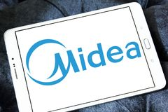 Midea Group logo. Logo of Midea Group on samsung tablet. Midea Group is a Chinese electrical appliance manufacturer, headquartered in Beijiao, Shunde, Foshan royalty free stock images