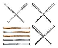 Wooden and Aluminum Baseball and Softball Bats vector illustration