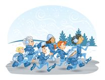 Group of People Running in the Winter vector illustration