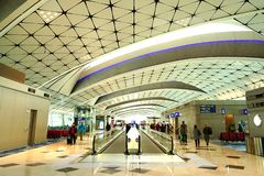 Midfield Concourse, Hong Kong International Airport. Midfield Concourse of the Hong Kong International Airport, one of the busiest airport in the world, was royalty free stock photography