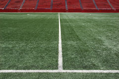 Midfield in soccer stadium. View of center field turf in soccer stadium Royalty Free Stock Images