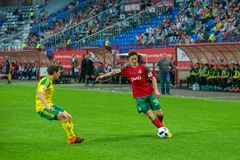 Midfielder Aleksei Miranchuk (59). MOSCOW - MAY 11, 2016: Midfielder Aleksei Miranchuk (59) on the soccer game Russian Premier League Lokomotiv (Moscow) vs Kuban Stock Photos
