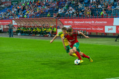Midfielder Aleksei Miranchuk (59). MOSCOW - MAY 11, 2016: Midfielder Aleksei Miranchuk (59) on the soccer game Russian Premier League Lokomotiv (Moscow) vs Kuban Royalty Free Stock Images