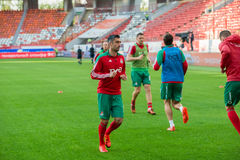 Midfielder Alexander Samedov (19). MOSCOW - MAY 11, 2016: Midfielder Alexander Samedov (19) before the soccer game Russian Premier League Lokomotiv (Moscow) vs Royalty Free Stock Photo
