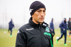 Midfielder fc krasnodar Odil Ahmedov on the open training session Stock Image