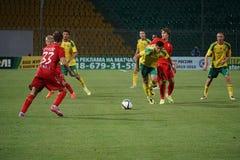 Midfielder FC Kuban Arsene Khubulov breaks the goal Royalty Free Stock Photo