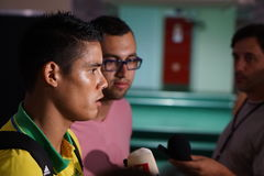 Midfielder FC Kuban Lorenzo Melgarejo gives an interview after the match Stock Photos