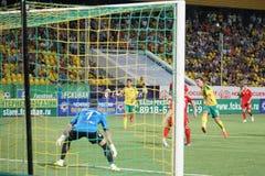 Midfielder fc kuban Sergei Tkachev gets his shot Stock Images
