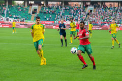 Midfielder Manuel Fernandes (4). MOSCOW - MAY 11, 2016: Midfielder Manuel Fernandes (4) on the soccer game Russian Premier League Lokomotiv (Moscow) vs Kuban ( Royalty Free Stock Image