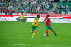 Midfielder Manuel Fernandes (4). MOSCOW - MAY 11, 2016: Midfielder Manuel Fernandes (4) on the soccer game Russian Premier League Lokomotiv (Moscow) vs Kuban ( Stock Photos