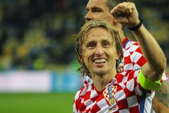 Midfielder of the national team of Croatia Luka Modric. KYIV, UKRAINE - OCTOBER 9, 2017: Midfielder of the national team of Croatia Luka Modric during the match Stock Photography